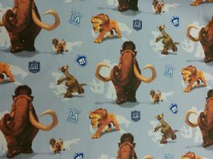 NEW! ICE AGE - MANNY SID SCRAT DIEGO - Fabric 100% Cotton - Price Per Metre